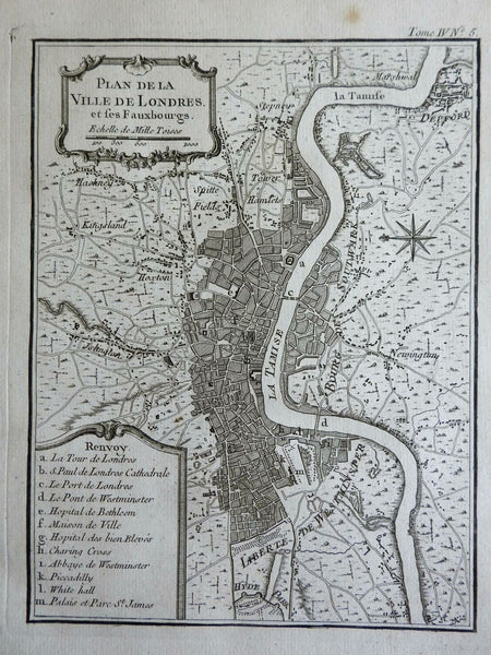 London England detailed city plan Westminster Islington Thames 1760 Bellin map