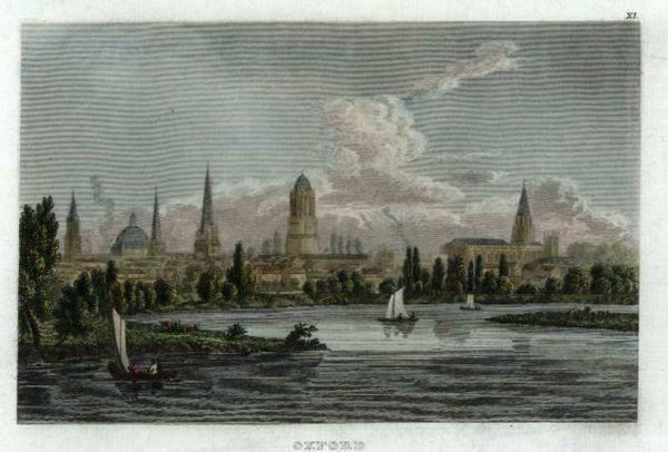 Oxford England water view city profile 1850 engraved view print lovely color