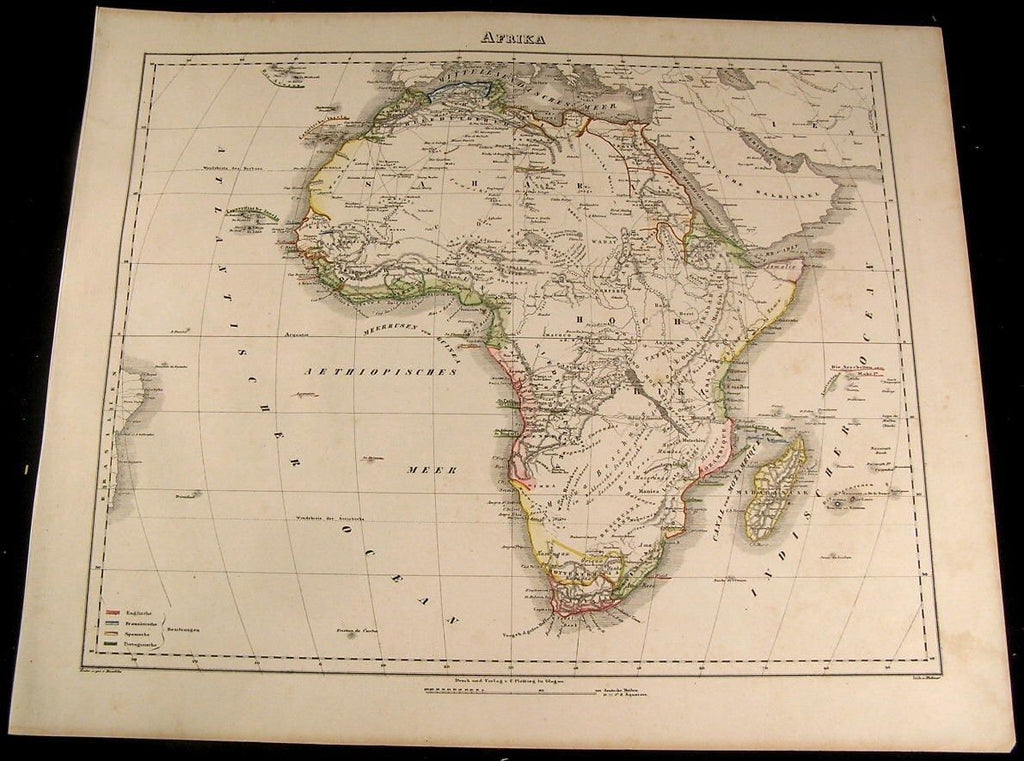 Africa continent Sahara Hottentots 1855 Flemming old antique map