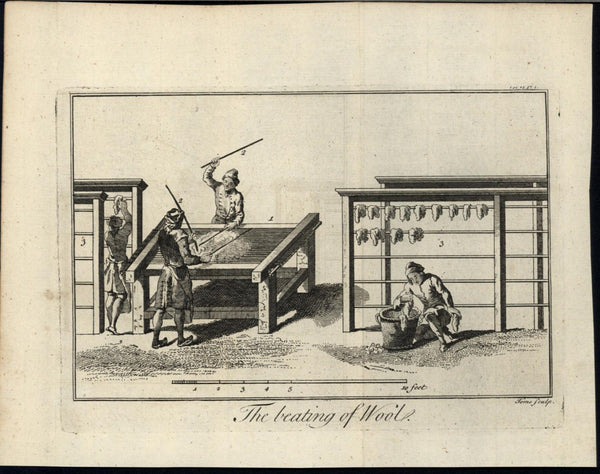 Treating of Wool Textile Industry Cleaning Drying 1748 antique engraved print