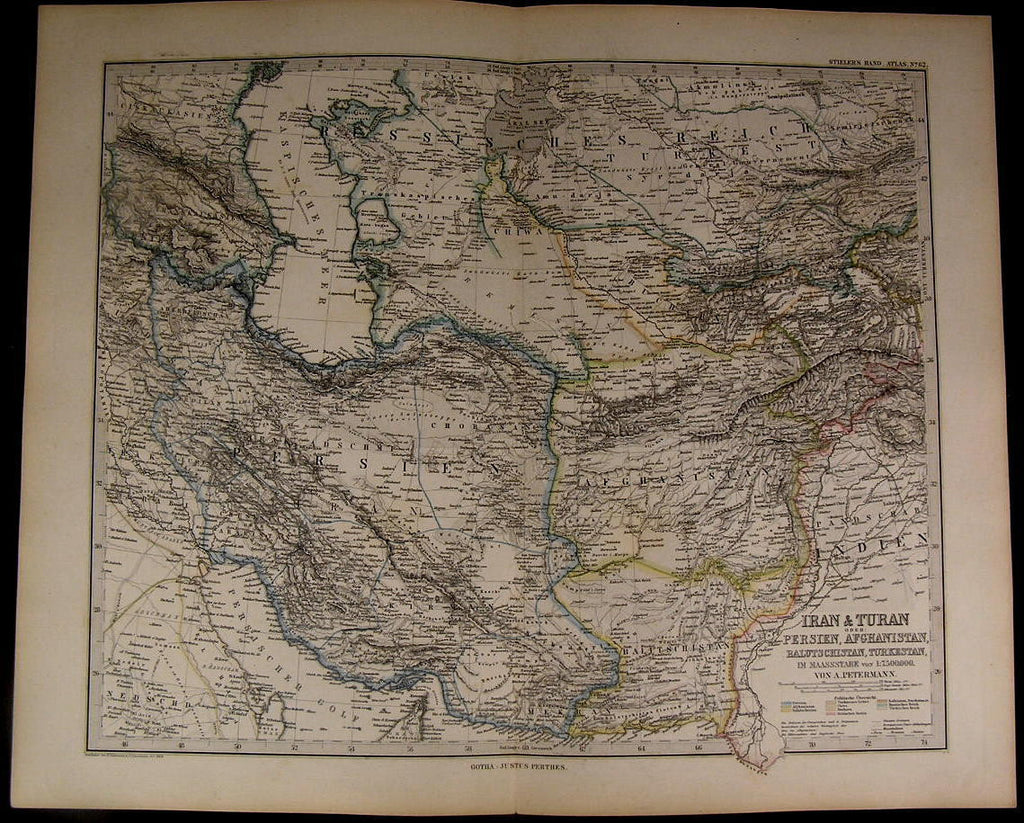 Iran Turan Afghanistan Persia Caspian Sea Turkestan 1884 fine old detailed map