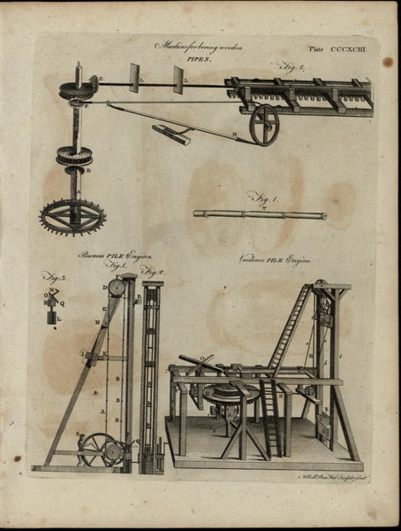 Pile Engines Pipe Boring Machine nice ca. 1790's fascinating old engraved print