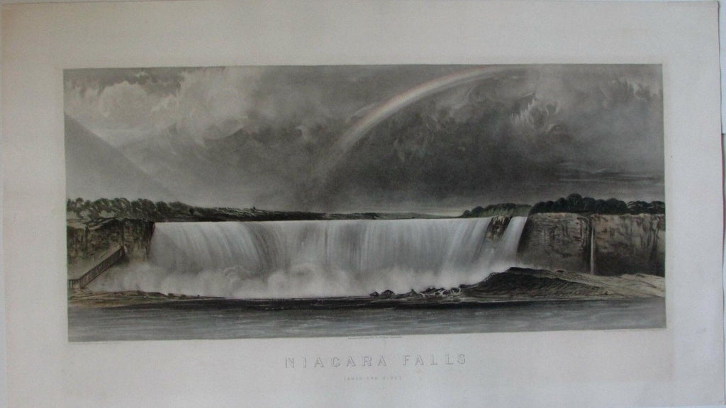 Niagara Falls American Side New York c.1850 Smith huge rare antique view color