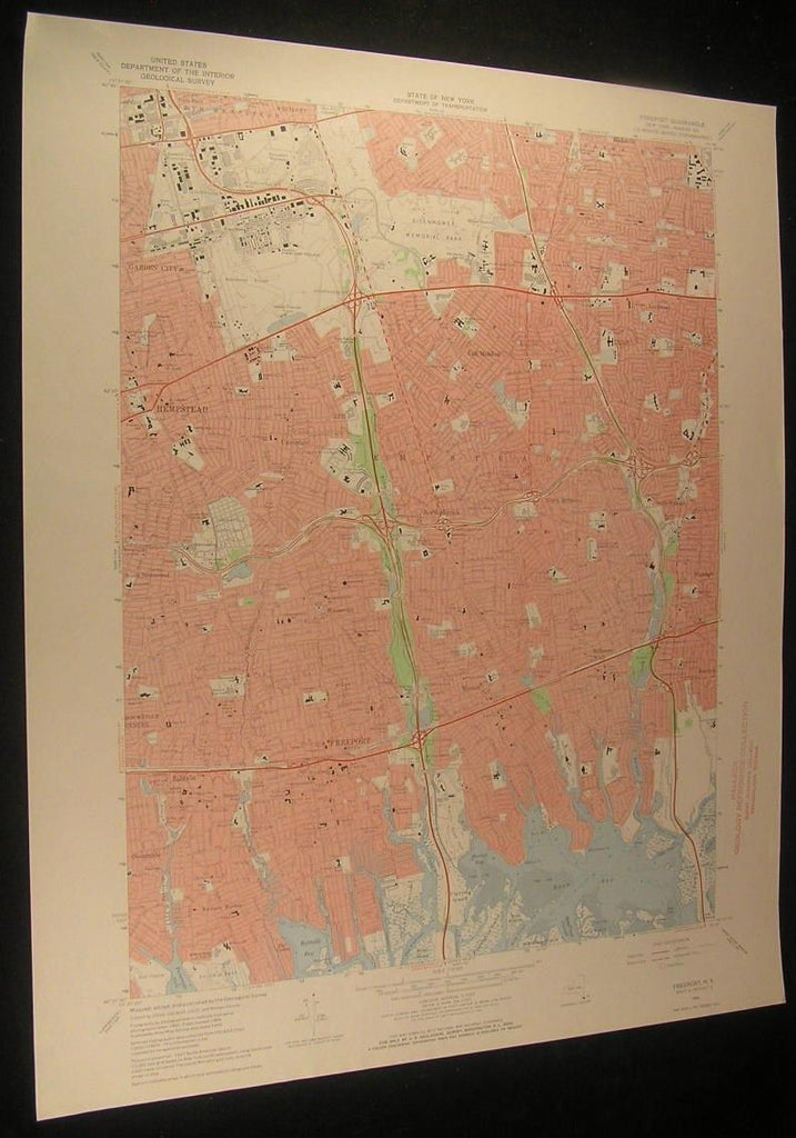 Freeport Nassau County New York The Narrows 1972 antique color lithograph map