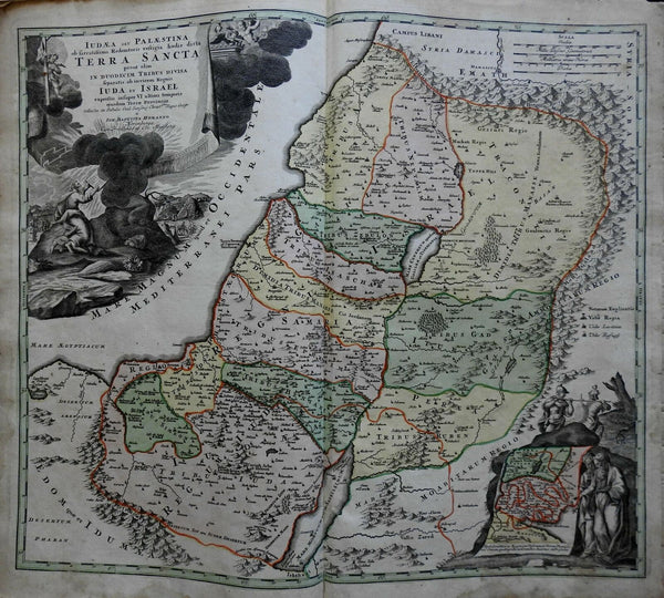 Holy Land Israel Palestine 12 Tribes Jerusalem 1707 Homann decorative large map