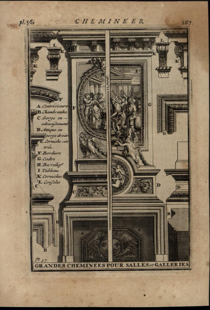 Large Ornate Fireplaces Interior Design 1696 rare antique Architecture print