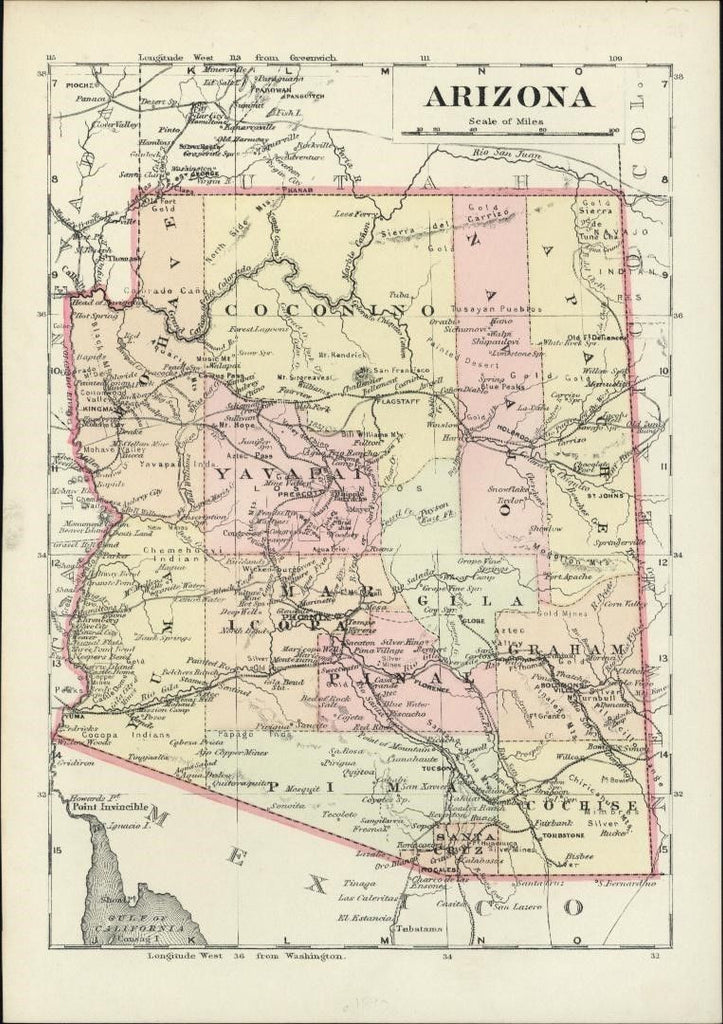 Arizona silver mines detailed 1890's charming old state map original hand color