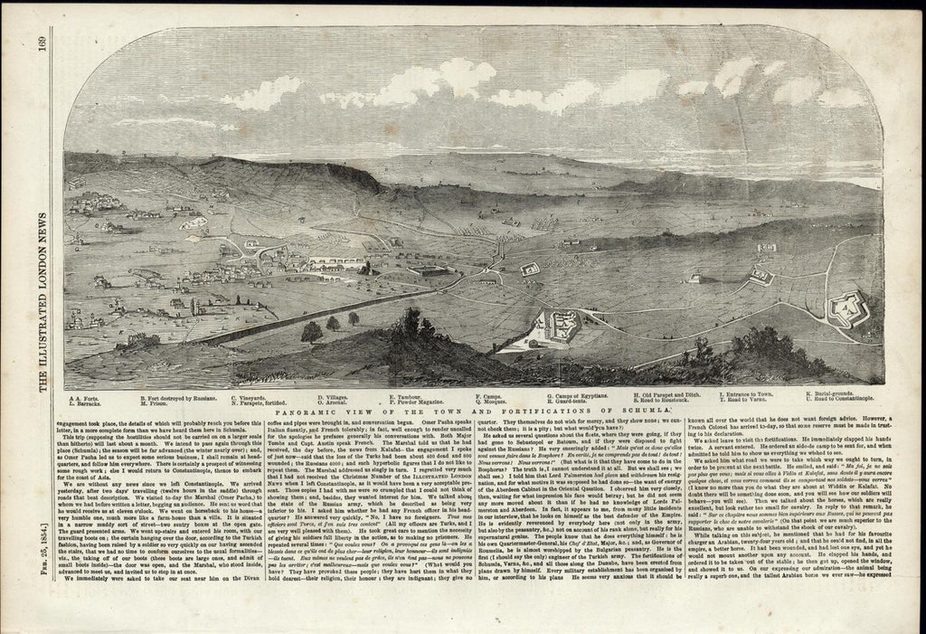 Schumla Town & Fortifications Panoramic View Landscape 1854 great antique print