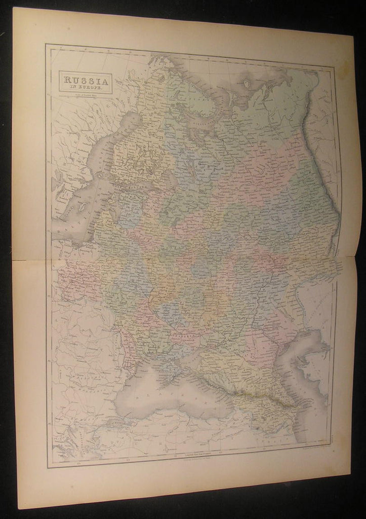 Russia in Europe Crimea Gulf of Finland 1854 Hall AC Black antique color map