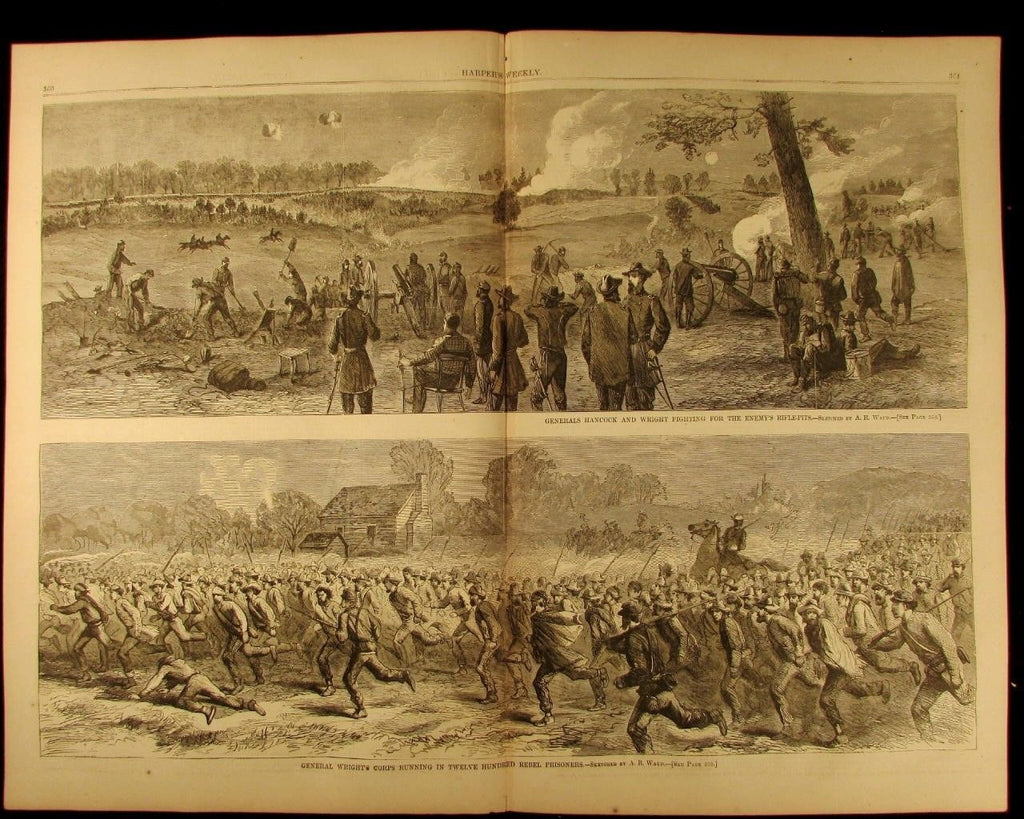 Generals Hancock & Wright Fighting Rebels 1864 antique Harpers Civil War print