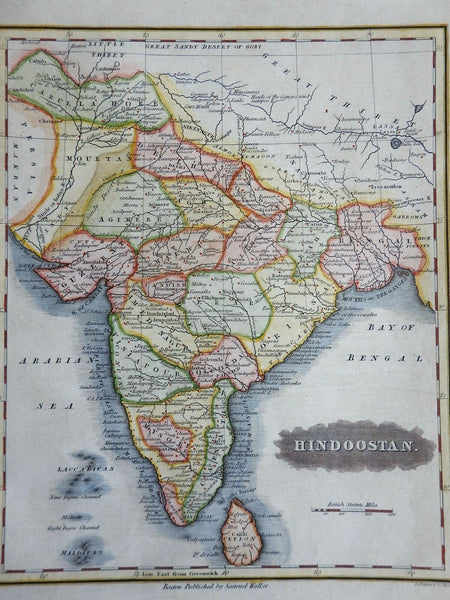 India British Raj Bengal Gujurat Mysore Sri Lanka Bombay Dehli 1844 Walker map