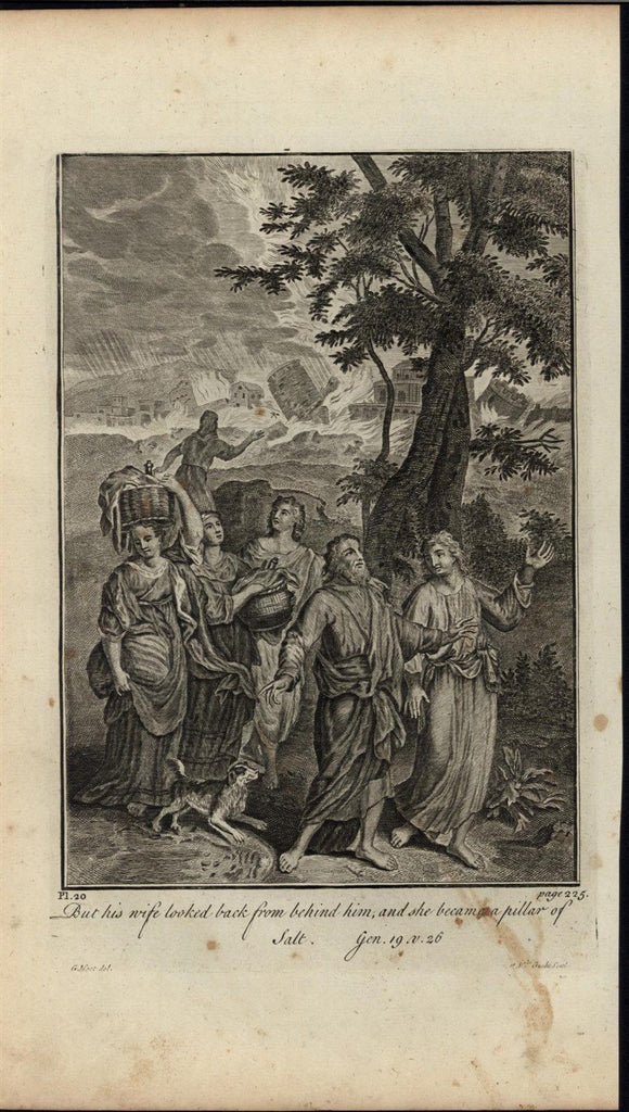 Lots Wife Pillar of Salt Gods Wrath c.1750 antique copper engraved Bible print