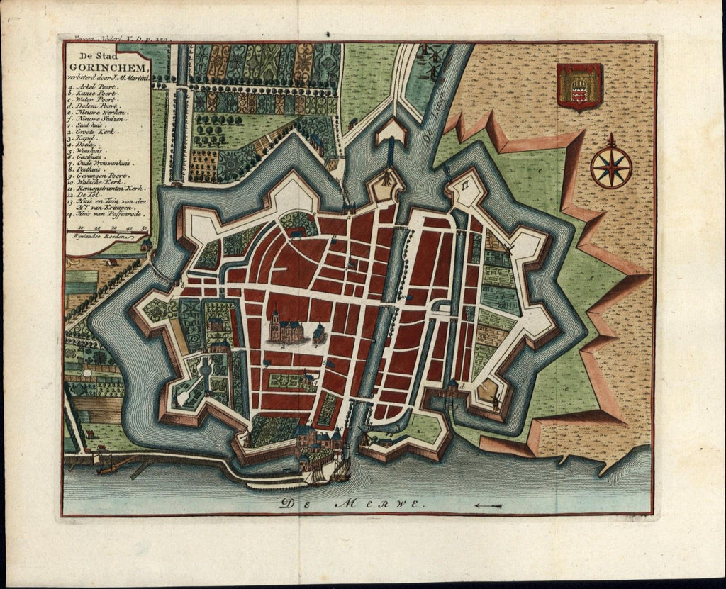 Gorkum Gorinchem South Holland Netherlands c.1730 old antique city plan map
