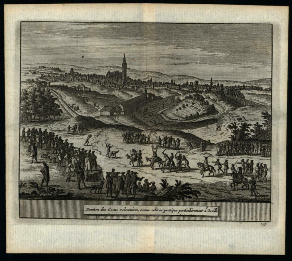 Seville Spain 1715 charming van der Aa miniature engraved birds-eye city view