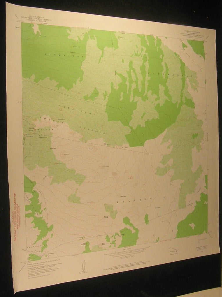 Hualalei Hawaii Hainoa Crater Lava Flows 1960 antique color lithograph map