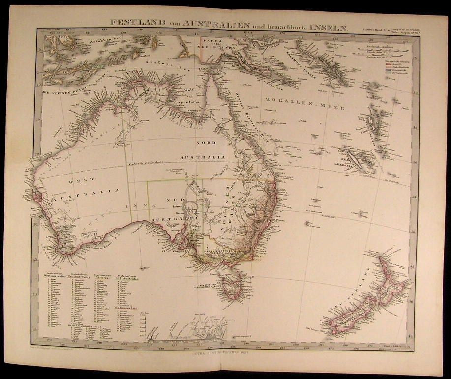 Australia New Zealand Pacific Islands Hooked Lake Torrens 1857 scarce map