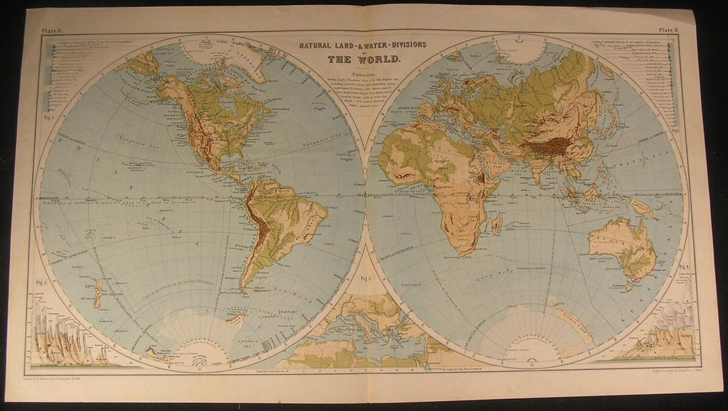 World Land & Water Divisions 1880 fine old vintage antique map