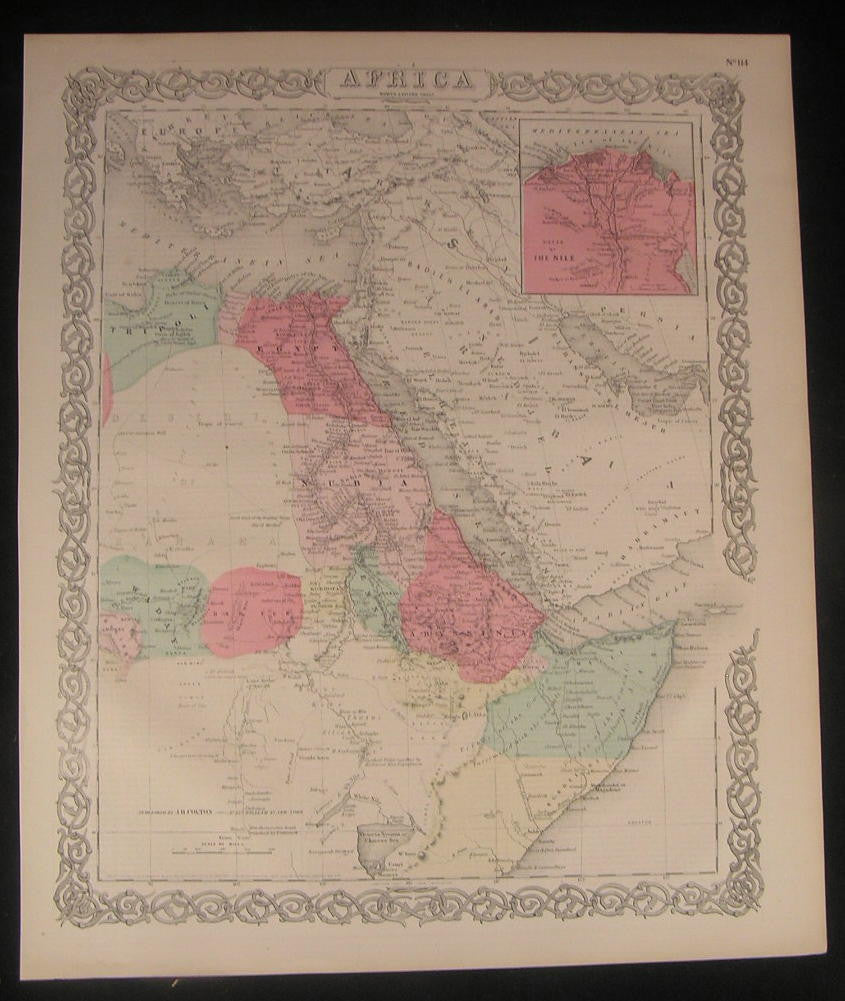 North East Africa Arabia 1855 Colton fine old vintage antique map