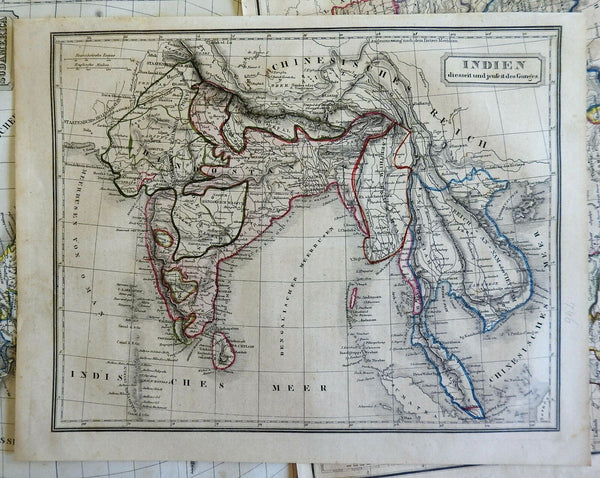 India British Raj Mysore Punjab Southeast Asia Ganges River 1850's engraved map