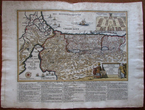 Holy Land Palestine 40 years Wandering 1725 Prideaux decorative map Jonah Moses