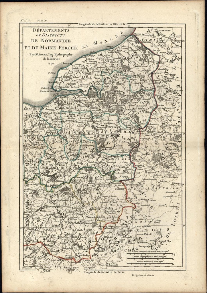 Normandy Maine Perche France 1790 detailed antique Bonne map original hand color
