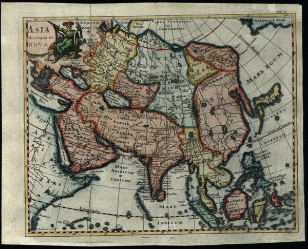 Asia Continent Korea thin narrow pencil shape 1712 Senex pictorial map
