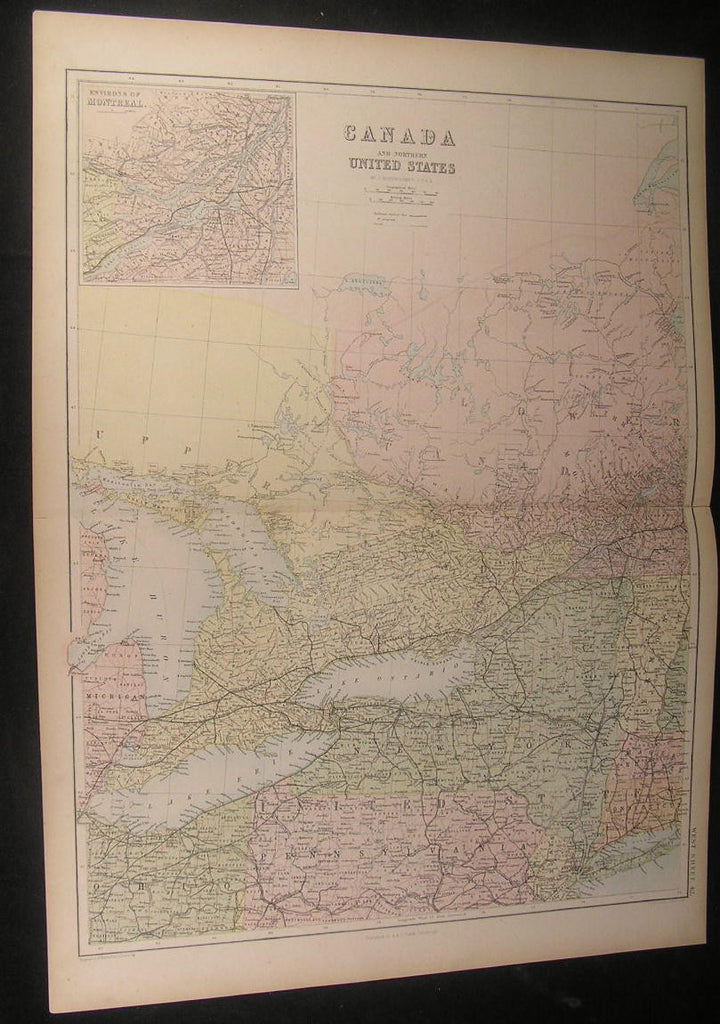 Canada Northern New England Ontario Huron 1865 fine antique color map