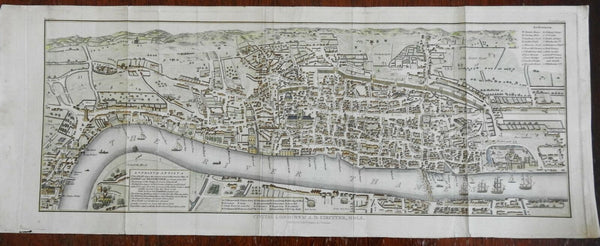 London England 1829 birds-eye city plan map panoramic view wonderful hand color