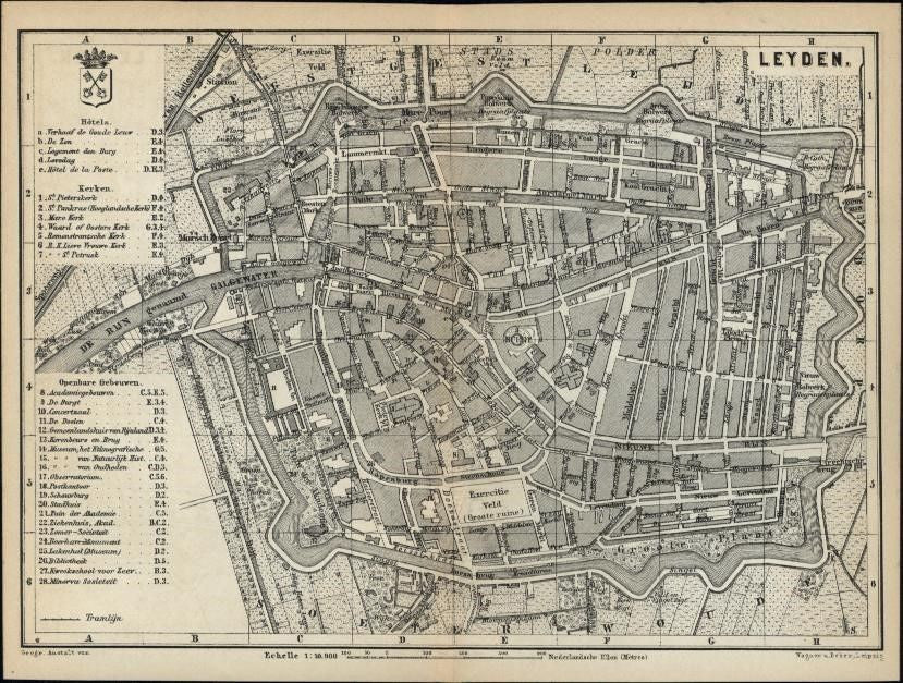Leyden Leiden Holland Netherlands 1881 detailed old city plan map Nederland