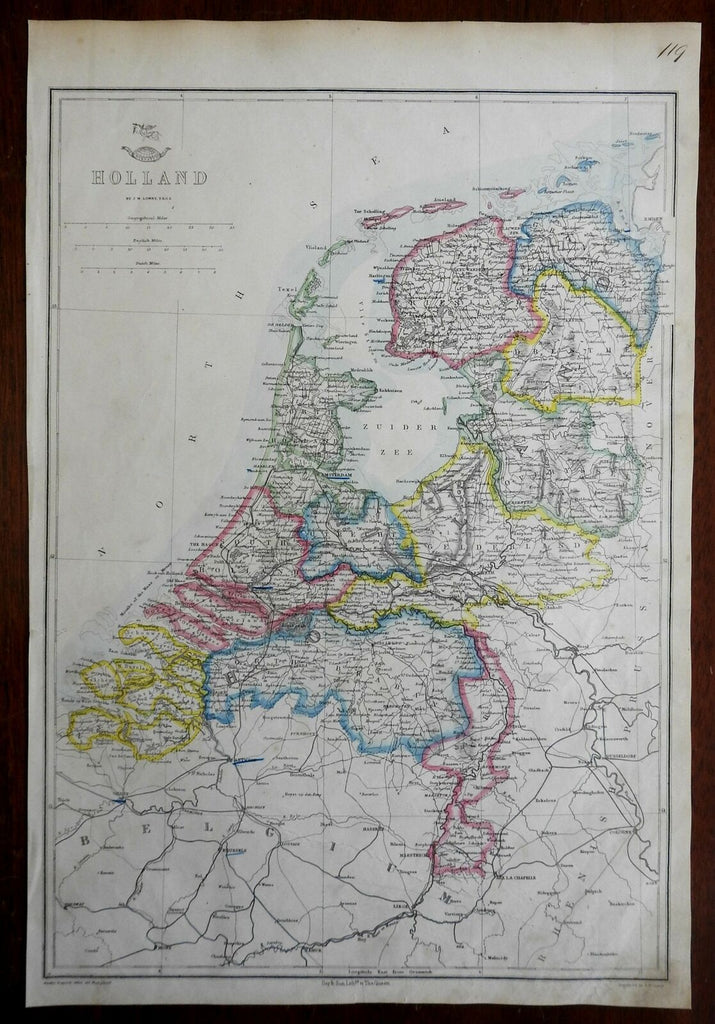 Holland Netherlands Low Countries Amsterdam Utrecht 1863 Lowry engraved map