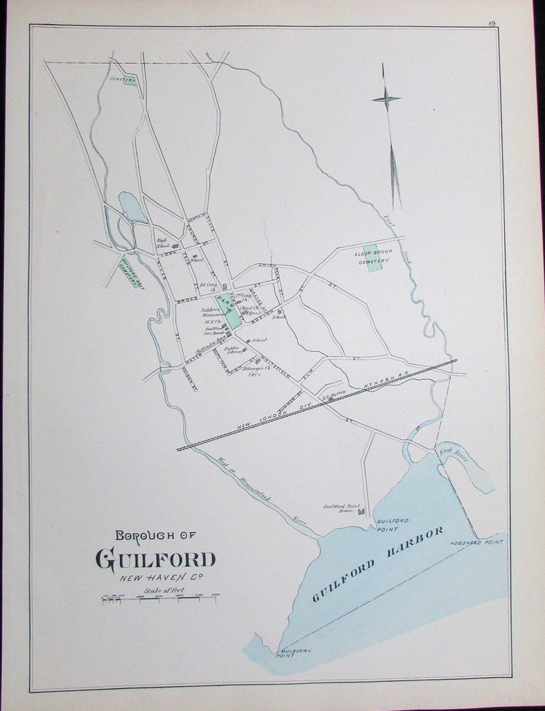 Guilford Harbor New Haven Connecticut 1893 antique map detailed Mulberry Point