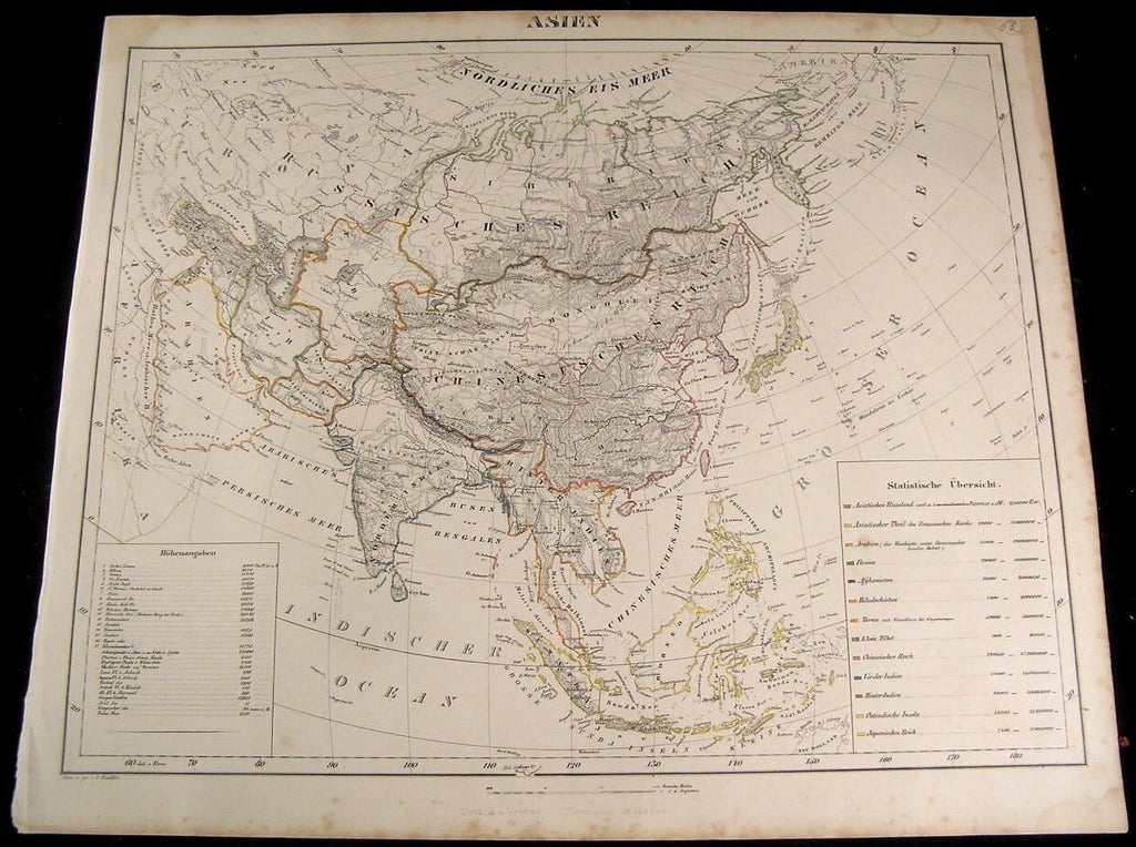 Asia Arabia Iran Hindustan China Russia Japan 1849 Flemming old antique map