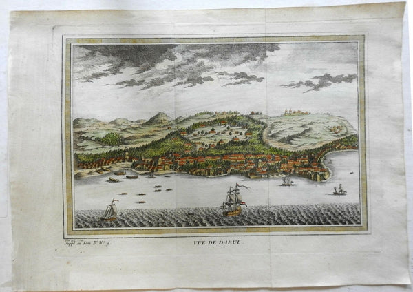 Dabhol India Harbor View Dutch Ships c. 1761 engraved prospect view