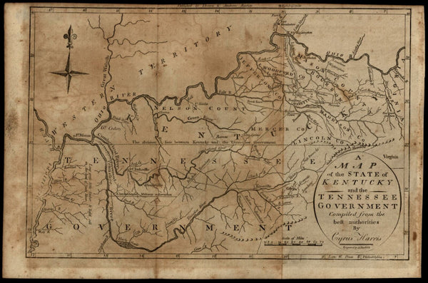 Kentucky Tennessee Government 1796 Amos Doolittle C. Harris American state map