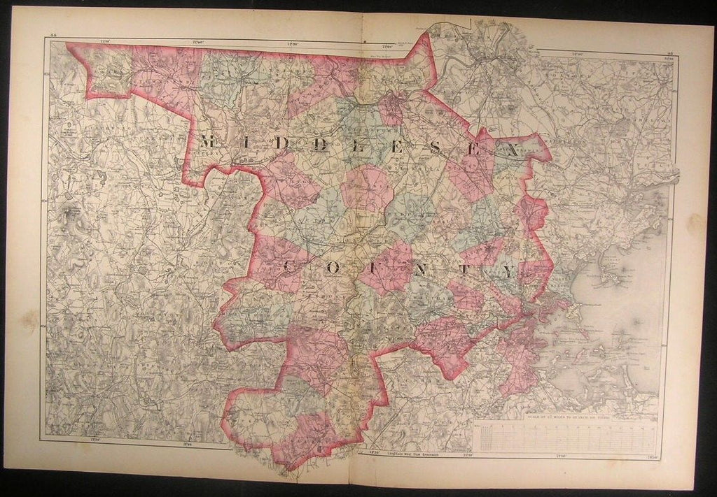 Middlesex Lowell Newton Boston Malden Massachusetts County 1871 antique map