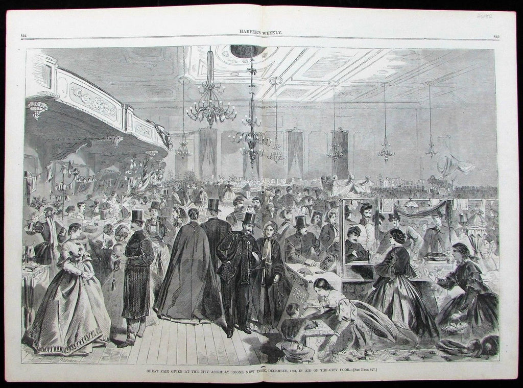 New York City 1861 Harper's Weekly Winslow Homer wood engraving Benefit dinner