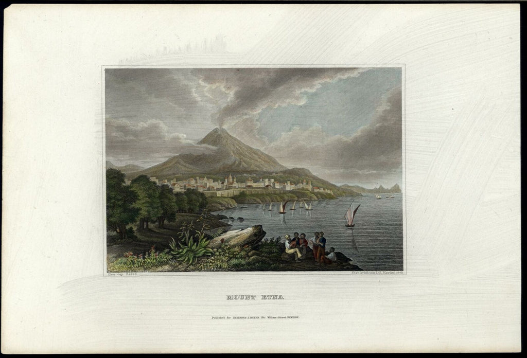 Naples Italy Mount Etna volcano Italia 1852 fine hand color view print Meyer