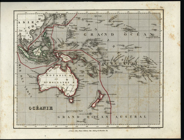 Australia Oceania Notasie Pacific Malaysia old engraved map by Binet c.1840's