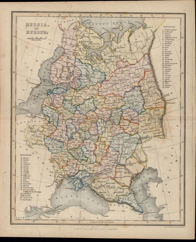 Russia in Europe 1847 Tegg A. Findlay antique hand color map