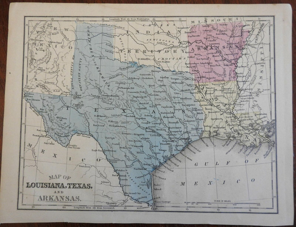 Texas Louisiana Arkansas Comanche Kiowa Apache 1864 Butler engraved map