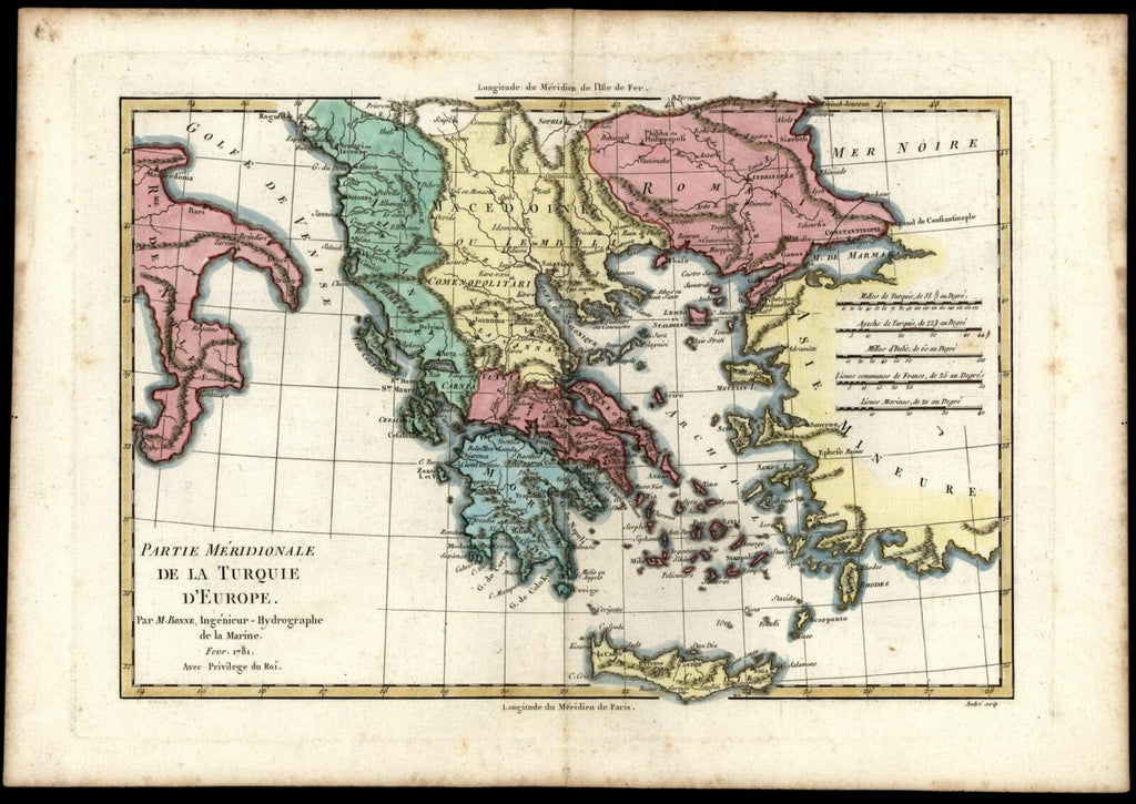 Greece Turkey in Europe Macedonia Morea Albania Romania 1781 Bonne map