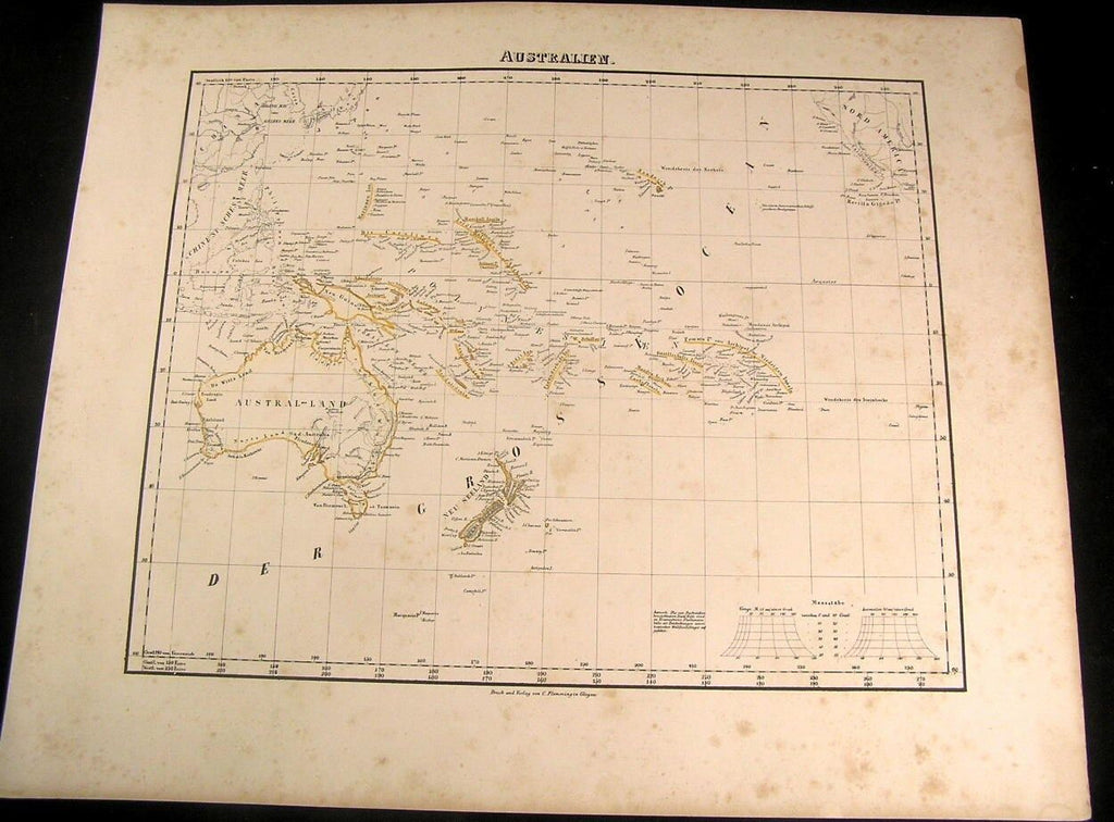 Australia New Zealand Lake Torrens hooked Hawaii 1855 Flemming old antique map