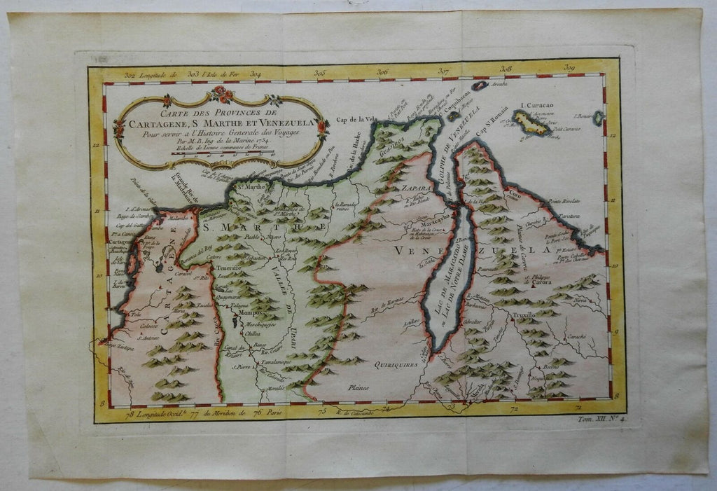 South America Colombia Venzuela coast Curacao European Colonies 1754 Bellin map