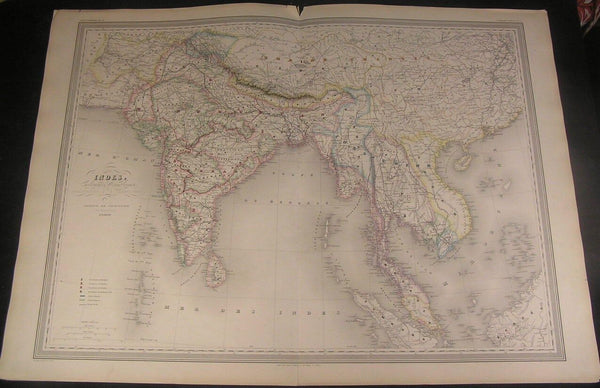 India Southeast Asia English Colonies c1865 Dufour huge fine color antique map