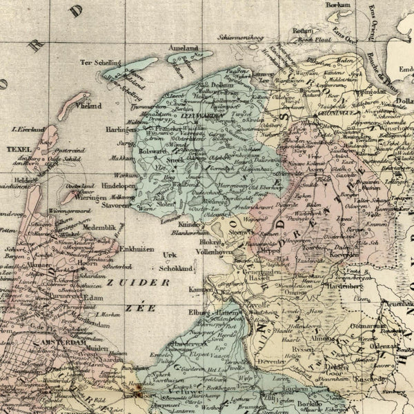 Holland Netherlands Nederland 1855 A. H. Dufour old map hand colored