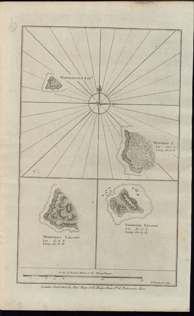 Pacific islands Mangeea Toobouai Wateeoo 1785 old vintage T. Bowen engraved map