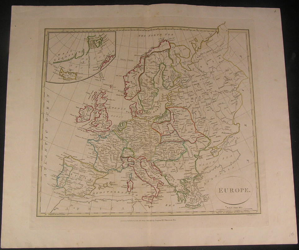 Europe 1808 scarce folio Neele & Longman old vintage antique hand colored map