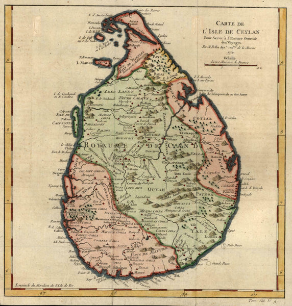 Ceylon island by itself Sri Lanka 1750 French Bellin engraved map
