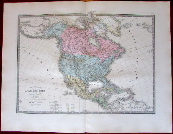 North America United States Alaska T c.1862 Brue lovely large old map hand color