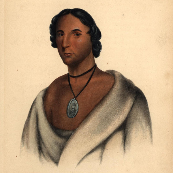 Chippewa Chief Pashenine Native American 1855 McKenney & Hall print